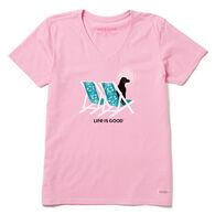 Life is Good Women's Hibiscus Beach Chairs with Dog Crusher Vee Short-Sleeve T-Shirt