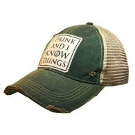 Vintage Life Women's I Drink and I Know Things Distressed Trucker Hat