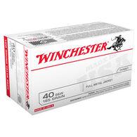 Winchester USA 40 Smith & Wesson 165 Grain FMJ Handgun Ammo (100)
