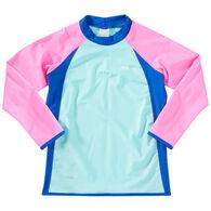 TYR Girl's Solid Splice Rashguard Long-Sleeve Top