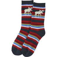 Lazy One Women's Moose Stripe Crew Sock