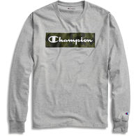 Champion Men's Classic Camo Graphic Script Logo Long-Sleeve T-Shirt