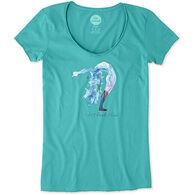 Life is Good Women's Bend Yoga Smooth Short-Sleeve T-Shirt