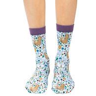 Good Luck Sock Women's Floral Llamas Crew Sock