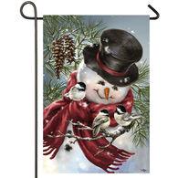 Evergreen Snowman Snuggles Satin Garden Flag