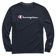 Champion Men's Classic Script Logo Jersey Long-Sleeve Shirt
