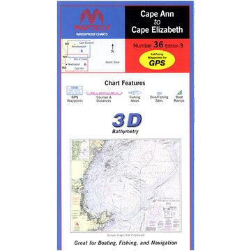Maptech Folding Waterproof Chart - Cape Ann to Cape Elizabeth