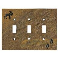 Big Sky Carvers Moose & Tracks Triple Switch Plate Cover