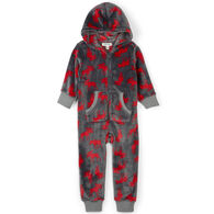 Hatley Youth Little Blue House Moose On Charcoal Hooded Fleece Jumpsuit