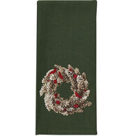 Park Designs Pinecone Wreath Embroidered Dish Towel