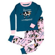 Lazy One Toddler Girls' I'm Moody in the Morning PJ Set