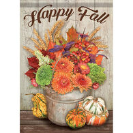 Carson Home Accents Fall Bucket & Gourds Garden Flag