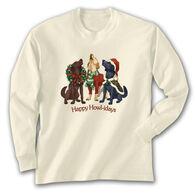 Earth Sun Moon Trading Women's Happy Howl-idays Long-Sleeve T-Shirt