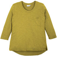 Prairie Cotton Women's Double Neck Band and Pocket Hi/Low 3/4-Sleeve Top