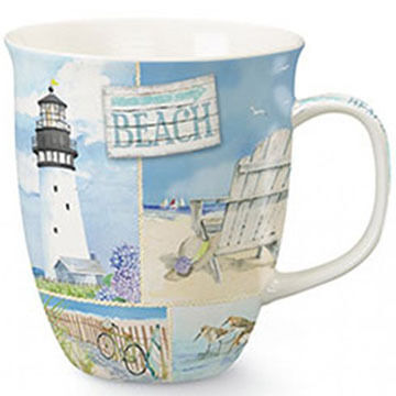 Cape Shore Maine Coastal Collage Harbor Mug