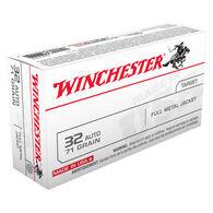 Winchester USA 32 Automatic 71 Grain FMJ Handgun Ammo (50)
