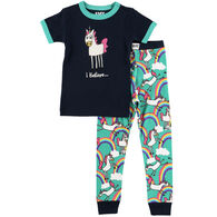 Lazy One Girls' I Believe Unicorn Pajama Set