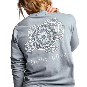 Shelly Cove Mens & Womens Boho Style Tile Medallion Long-Sleeve T-Shirt