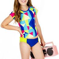 Girl & Co. Girls' Malibu Colorblock Rash Guard, 2pc