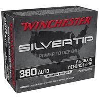 Winchester Silvertip 380 Auto 85 Grain Defense JHP Handgun Ammo (20)