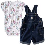 Carhartt Infant/Toddler Girls' Denim Shortall Set, 2pc