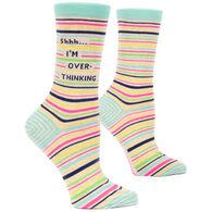Blue Q Women's Shhh I'm Overthinking Crew Sock