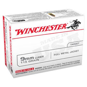Winchester USA 9mm Luger 115 Grain FMJ Handgun Ammo (100)