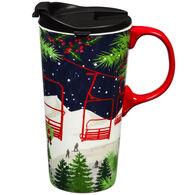 Evergreen Winter Ski Lift Ceramic Travel Cup w/ Lid