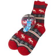 Hatley Little Blue House Men's Fair Isle Moose Crew Sock and Tree Ornament