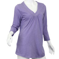 North River Women's Cotton Slub Jersey V-Neck 3/4-Sleeve Shirt