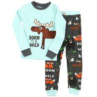Lazy One Toddler Boy's Born To Be Wild Moose PJ Set
