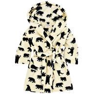 Hatley Youth Little Blue House Black Bears On Natural Fleece Robe