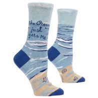 Blue Q Women's The Ocean Just Gets Me Crew Sock