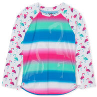 Hatley Girl's Fancy Flamingos Long-Sleeve Rashguard Top