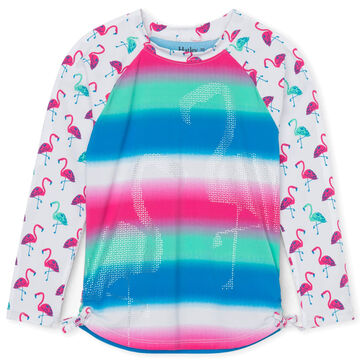 Hatley Girls Fancy Flamingos Long-Sleeve Rashguard Top