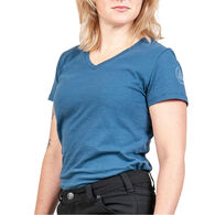 Dovetail Workwear Women's Solid V-Neck Short-Sleeve T-Shirt