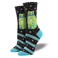 Socksmith Design Women's Laurel Burch Celestial Moon Cat Crew Sock