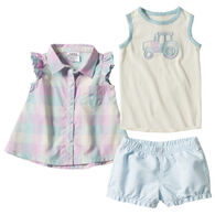 Carhartt Toddler Girl's Plaid Short Set, 3-Piece