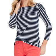 Vineyard Vines Women's Lightweight Striped Sankaty Simple Boatneck Long-Sleeve Shirt