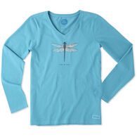 Life is Good Women's Dragonfly Crusher Vee Long-Sleeve T-Shirt