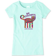 Life is Good Girl's Be Colorful Cat Crusher Short-Sleeve T-Shirt