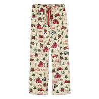Hatley Little Blue House Women's Country Christmas Flannel Pajama Pant