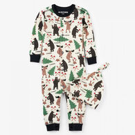 Hatley Boys' Little Blue House Lumberjack Animal Coverall with Hat