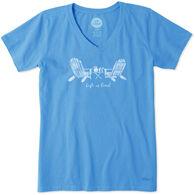 Life is Good Women's Adirondack Chairs Crusher Vee Short-Sleeve T-Shirt