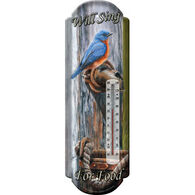 Rivers Edge Bluebird - Will Sing For Food Tin Thermometer
