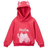 Doodle Pants Toddler Girls' Pink Monster 3D Sweatshirt