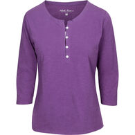 North River Women's Pigment Slub Jersey Henley 3/4-Sleeve Short