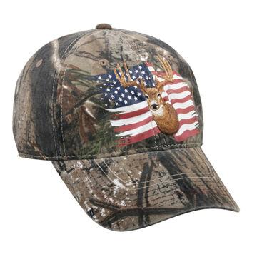 Outdoor Cap Men's Realtree Xtra Deer & American Flag Cap