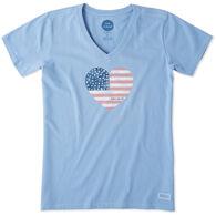 Life is Good Women's Americana Love Crusher Vee Short-Sleeve T-Shirt