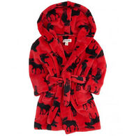 Hatley Boys' & Girls' Moose on Red Robe